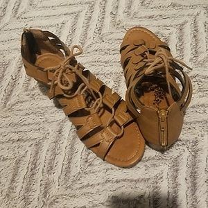 Trendy tie sandles with a 2 inch wedge classic tan